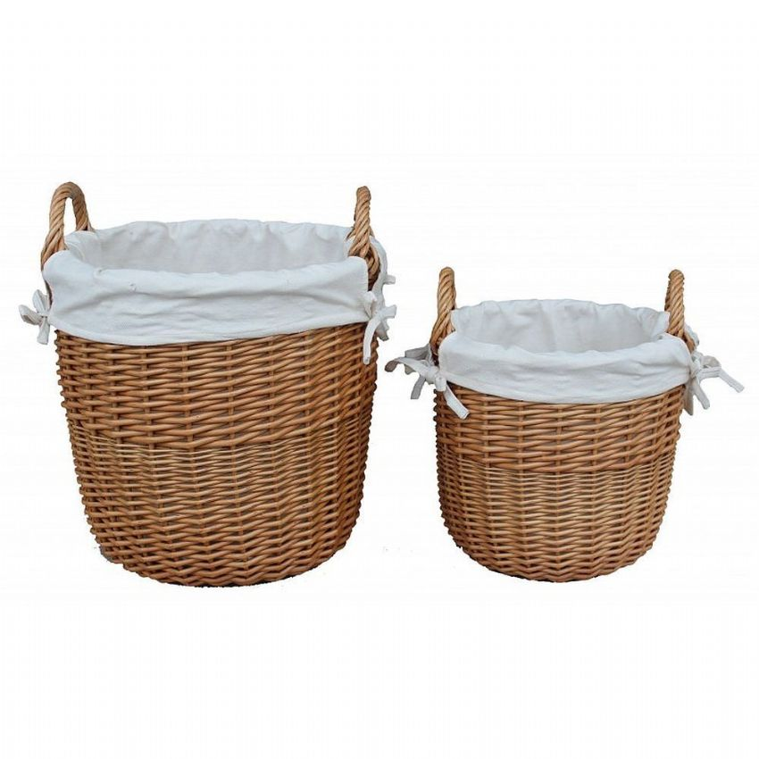 Cotswolds Living Room Tidy Up Carry Storage Baskets Pair